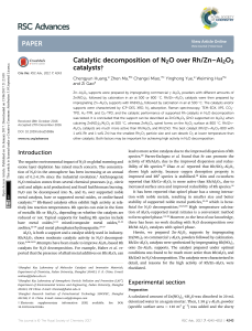 Catalytic decomposition of N2O over Rh/Zn–Al2O3 catalysts