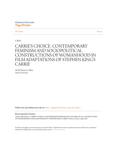 carrie`s choice: contemporary feminism and