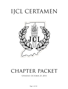 Chapter Certamen Packet - Indiana Junior Classical League