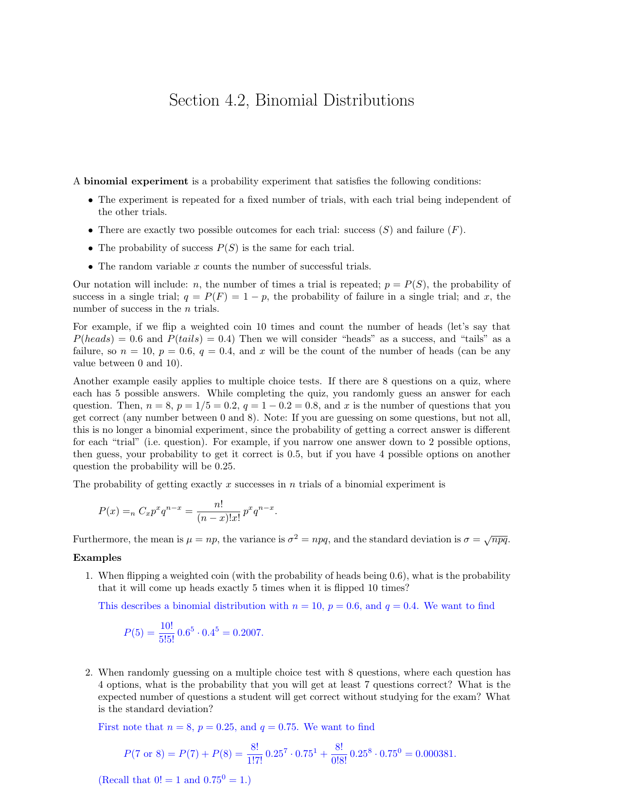 Section 4 2, Binomial Distributions