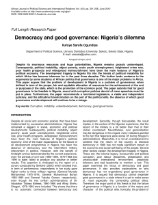 Democracy and good governance: Nigeria`s dilemma