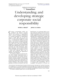 Understanding and developing strategic corporate social responsibility