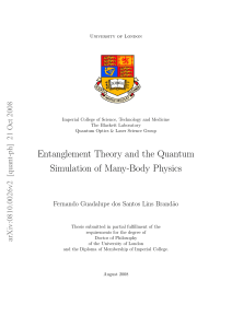 Entanglement Theory and the Quantum