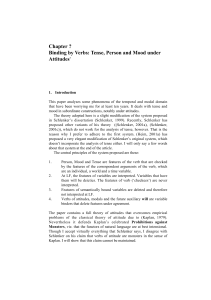 Chapter ? Binding by Verbs: Tense, Person and Mood under Attitudes*