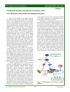 Targeting protein synthesis in cancer cells (PDF Available)