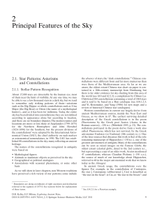 Principal Features of the Sky