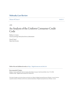 An Analysis of the Uniform Consumer Credit Code