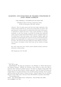 learning and evolution of trading strategies in limit order markets