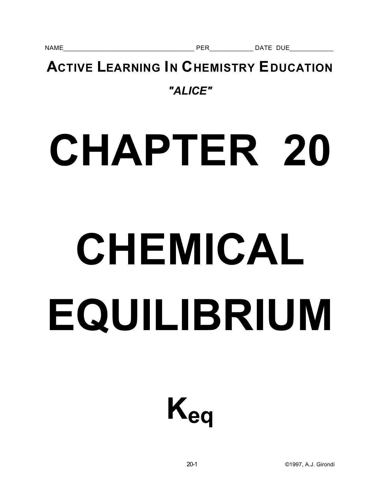 20  Chemical Equilibrium