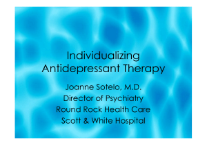 Individualizing Antidepressant Therapy Individualizing
