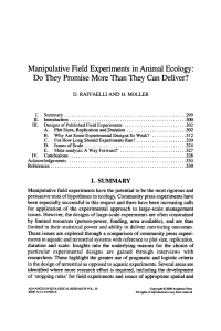 Manipulative Field Experiments in Animal Ecology: Do They