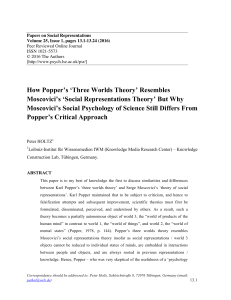 How Popper`s `Three Worlds Theory` Resembles Moscovici`s