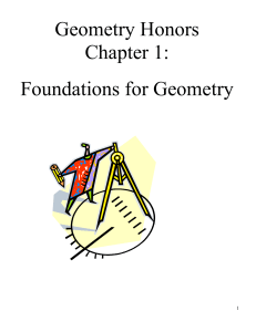 Geometry Honors Chapter 1: Foundations for Geometry