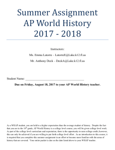 Summer Assignment AP World History 2017
