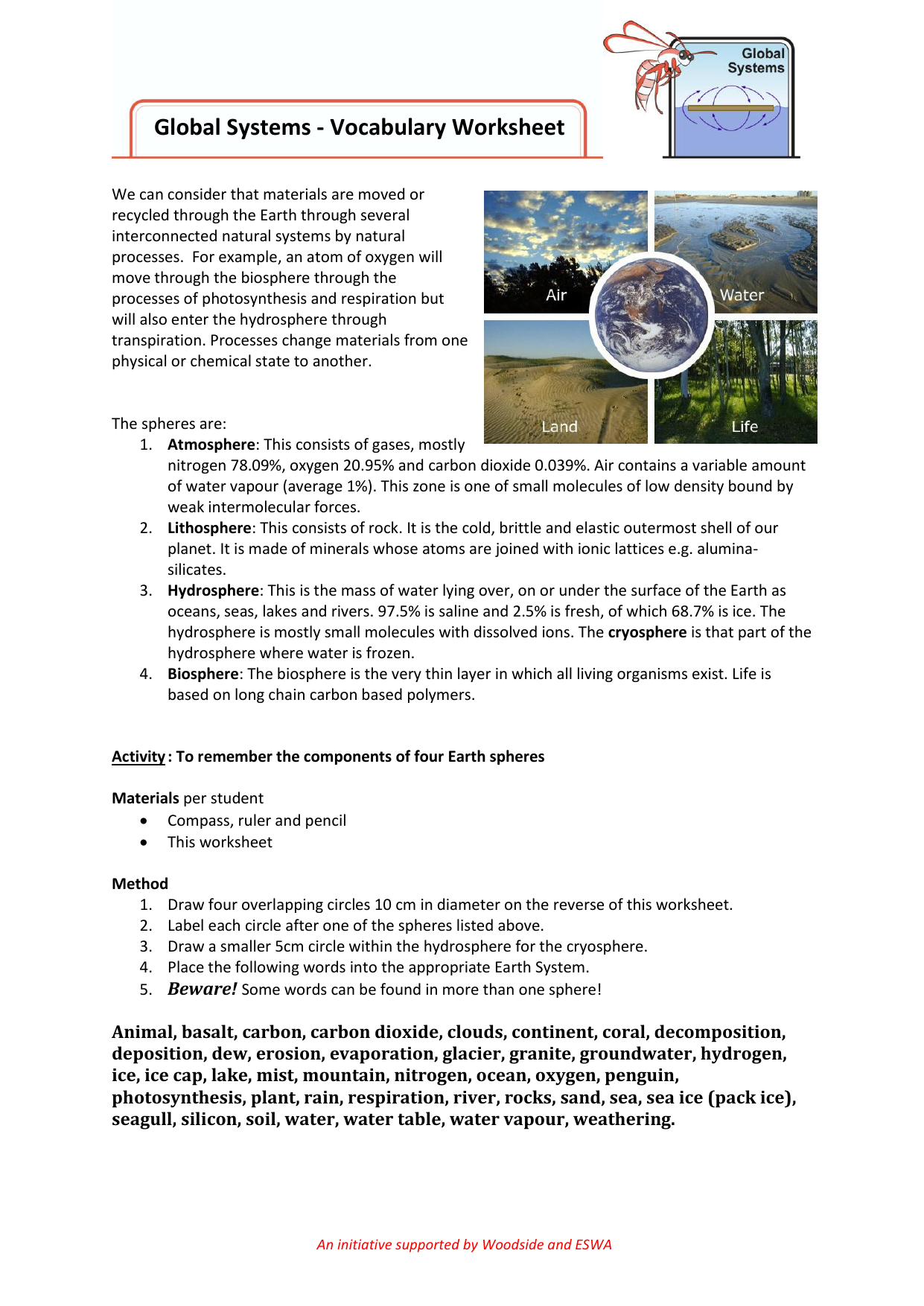Global Systems Vocabulary Worksheet File