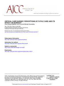 effect on burnout critical care nurses` perceptions of futile care