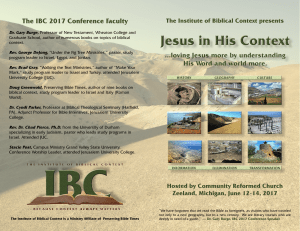 The IBC 2017 Conference Faculty The Institute of Biblical Context