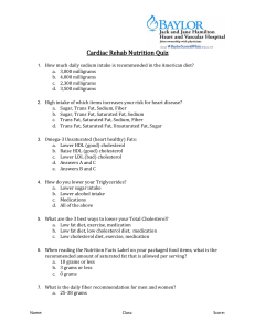 Cardiac Rehab Nutrition Quiz - Baylor Heart and Vascular Hospital