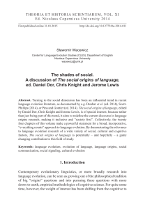 The shades of social. A discussion of The social origins of language