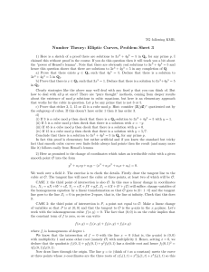 Number Theory: Elliptic Curves, Problem Sheet 3