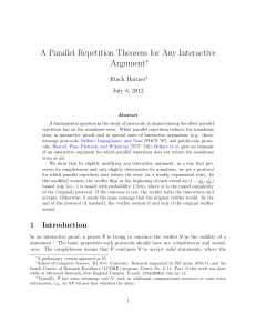 A Parallel Repetition Theorem for Any Interactive Argument