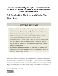 8.1 Production Choices and Costs: The Short Run