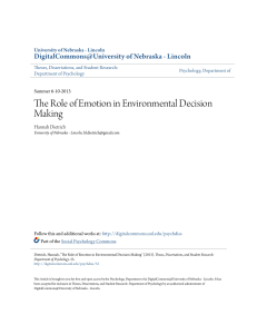 The Role of Emotion in Environmental Decision Making