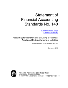 Statement of Financial Accounting Standards No. 140