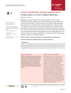 Foreign policy in an era of digital diplomacy