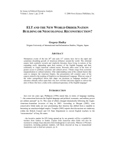 ELTAND THE NEW WORLD ORDER:NATION BUILDING OR
