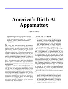 America`s Birth At Appomattox - Jeff Littlejohn, Assistant Professor of