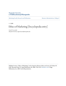 Ethics of Marketing [Encyclopedia entry] - e