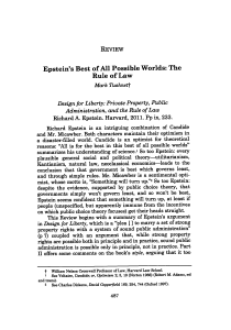Epstein`s Best of All Possible Worlds: The Rule of Law