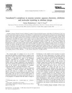 Vanadium(V) complexes in enzyme systems: aqueous chemistry