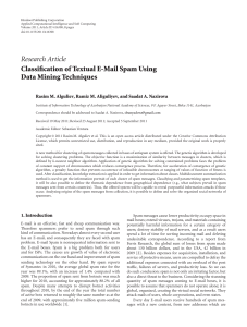 Research Article Classification of Textual E-Mail Spam