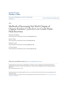 Methods of Increasing Net Work Output of Organic - Purdue e-Pubs