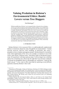 Valuing Predation in Rolston`s Environmental Ethics: Bambi Lovers
