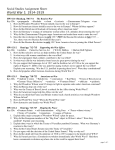 World War I Era Assignment Sheet `14
