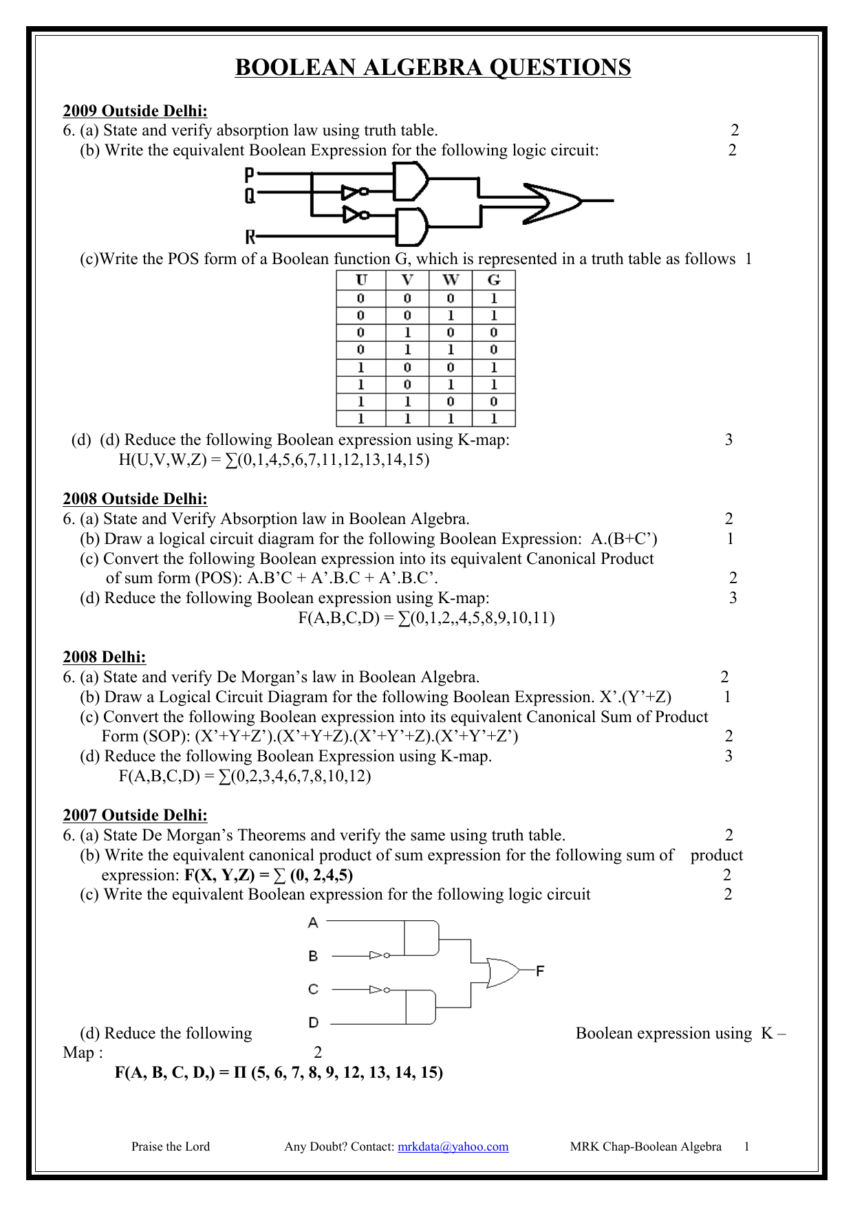 Draw A Logic Circuit Diagram That Represent The Boolean Expression Algebra Questions
