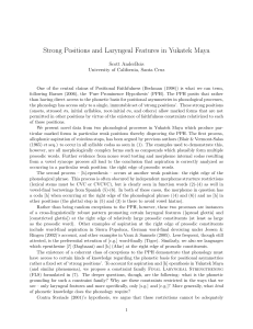 Strong Positions and Laryngeal Features in Yukatek Maya