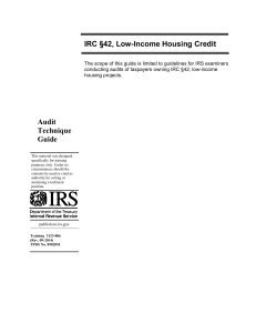 Audit Technique Guide IRC §42, Low-Income Housing Credit