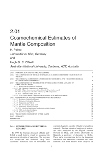 2.01 Cosmochemical Estimates of Mantle Composition