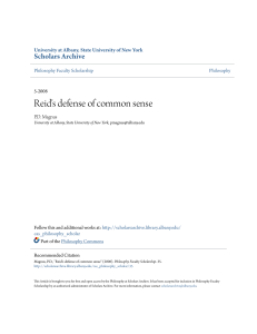 Reid`s defense of common sense - Scholars Archive