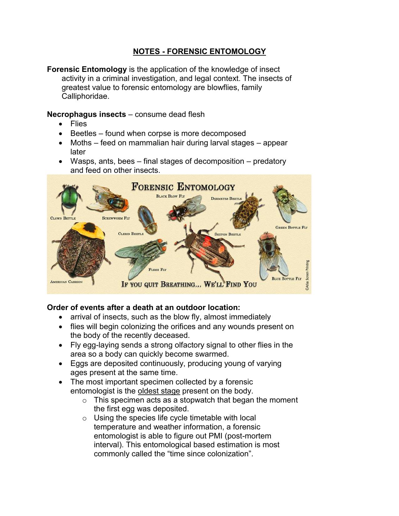 Notes Forensic Entomology Forensic Entomology Is The