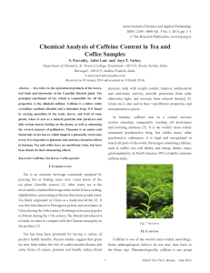 Chemical Analysis of Caffeine Content in Tea and Coffee Samples