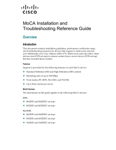 MoCA Installation and Troubleshooting Reference Guide