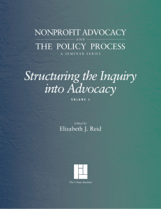 Structuring the Inquiry into Advocacy, Vol. I