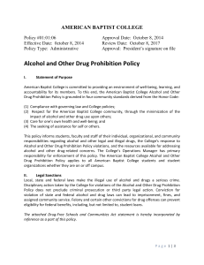Alcohol and Other Drug Prohibition Policy