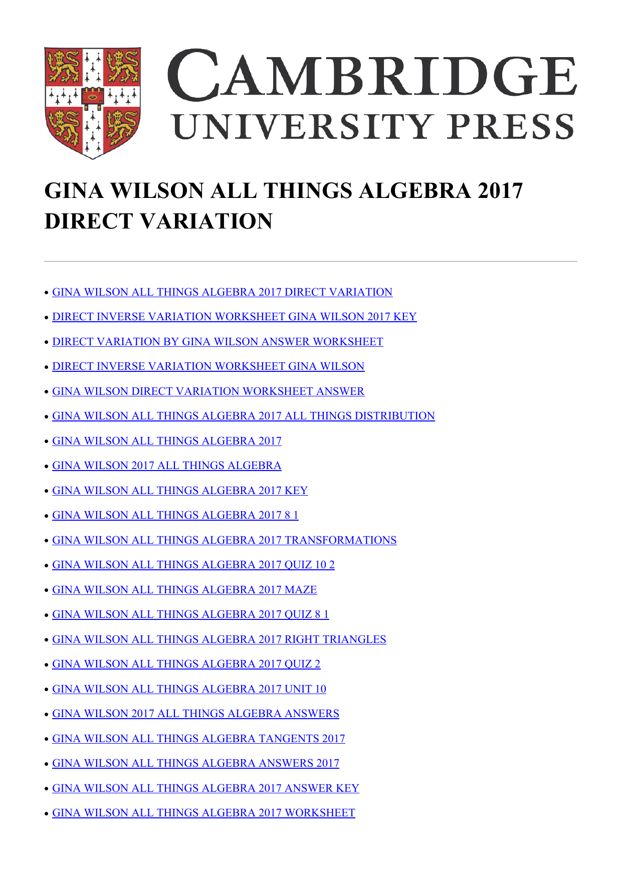gina wilson all things algebra 2017 direct variation