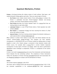 Quantum Mechanics-Friction